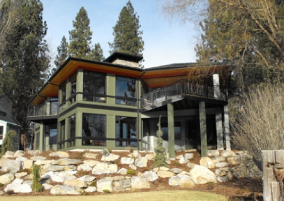 Frank Lloyd Wright Inspired Contemporary Home, Spokane River, Idaho